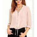2017 Summer Women Chiffon Blouse Button Long Sleeve Shirt Party Club Beach Sexy V Neck Street