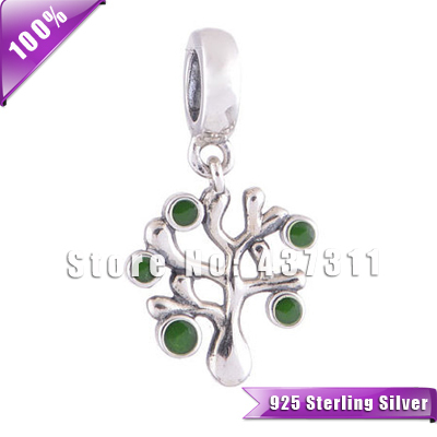100% S925 Sterling Silver Beads Green Crystals Tree Dangle Charm Fit European Chamilia Charm Bracelets & Necklaces YZ301(China (Mainland))