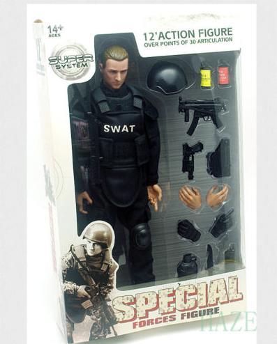 12 Soldier Action font b Figure b font SWAT Black Uniform Model Toy Military Army Suit