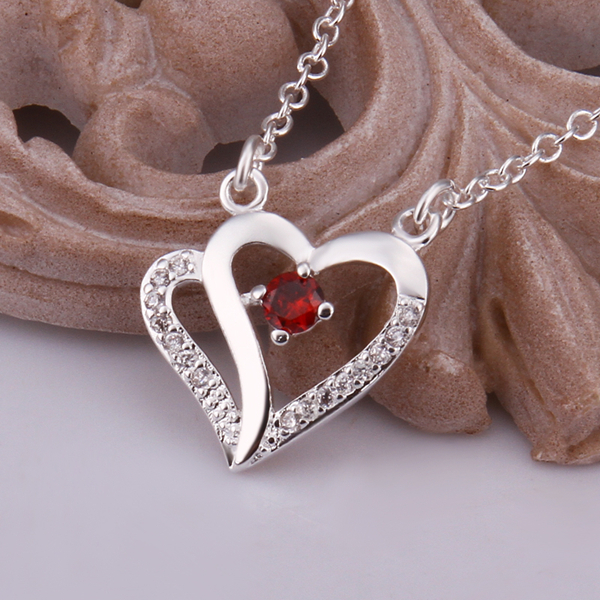 2015 Fashion Big Brand Simple 925 Sterling Silver Chain Necklace Silver Rhinestone Double Heart Pendant Necklace Women jewelry(China (Mainland))