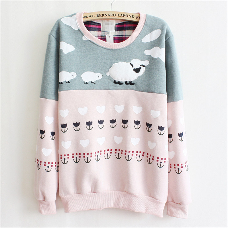 2015 New Women Pullover Cute Sheep Embroidered Thick Fleece Inside Warm Hoodies Pink and Gray Mix Color Hoodies for Women(China (Mainland))
