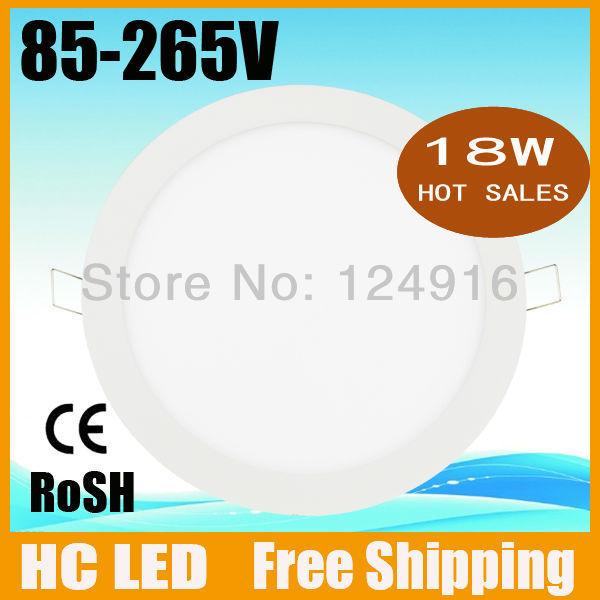 Free shipping 18w led panel lighting ceiling light AC85-265V ,SMD2835, Alumium,Warm /Cool white,indoor lighting led