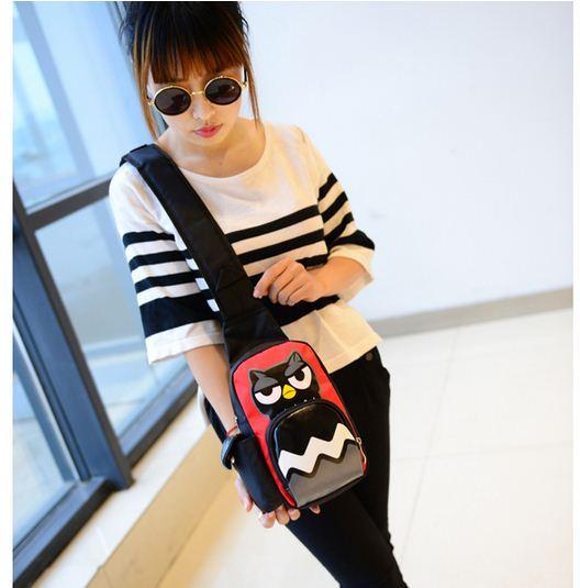 T351_New Arrival 5 Colors Owl Print Gilrs Fashion Single-Shoulder Bag/Messenger Bag/Chest Bag Boy Girls Bag,14cmX30cmX8cm(China (Mainland))