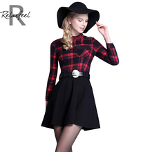 Relaxfeel Women's Elegant Tartan Plaid Long-sleeved Round Neck Belt Buckle Dress