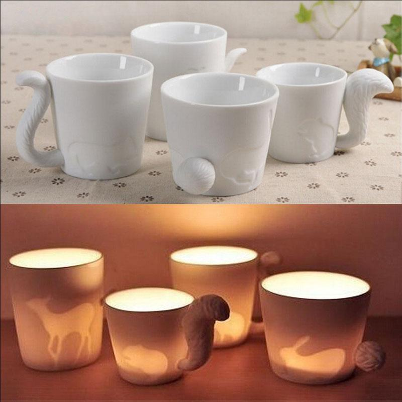 270ml Ceramic Candlestick Mug Cat Style Milk Coffee Cup Cute Novelty Gift(China (Mainland))