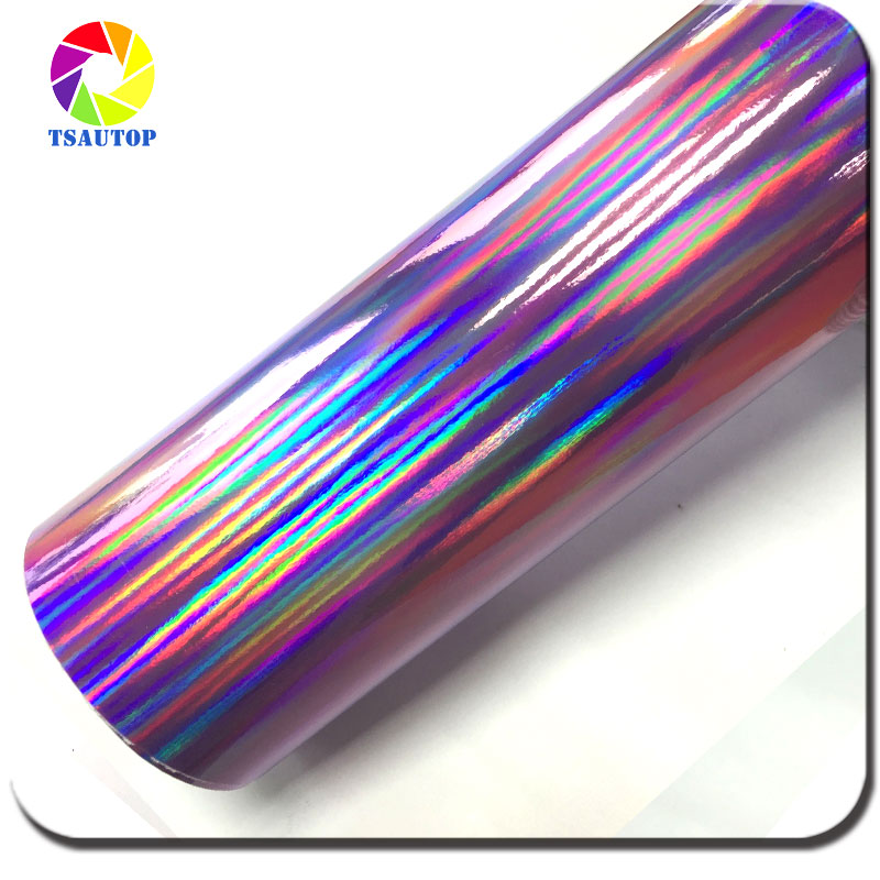 1.42*20M Air free bubbles Rainbow Laser Chrome Vinyl car wrap vinyl film car body sticker Purple(China (Mainland))