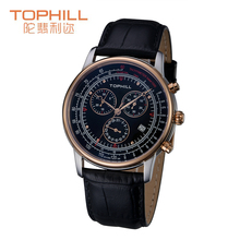 Tophill reloj de cuarzo clásico hombres de múltiples funciones del cronógrafo de los deportes de la antigüedad venda del cuero genuino reloj hebilla de acero inoxidable