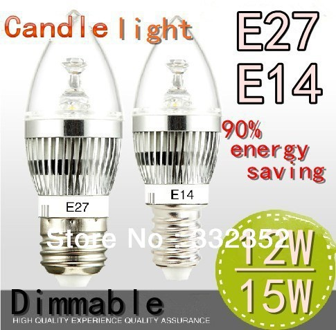 Free shipping High Power 2XE14 E27 4x3W 12W 5X3W 15W Dimmable AC85~265V LED Candel Light LED bulb lamp spotLight