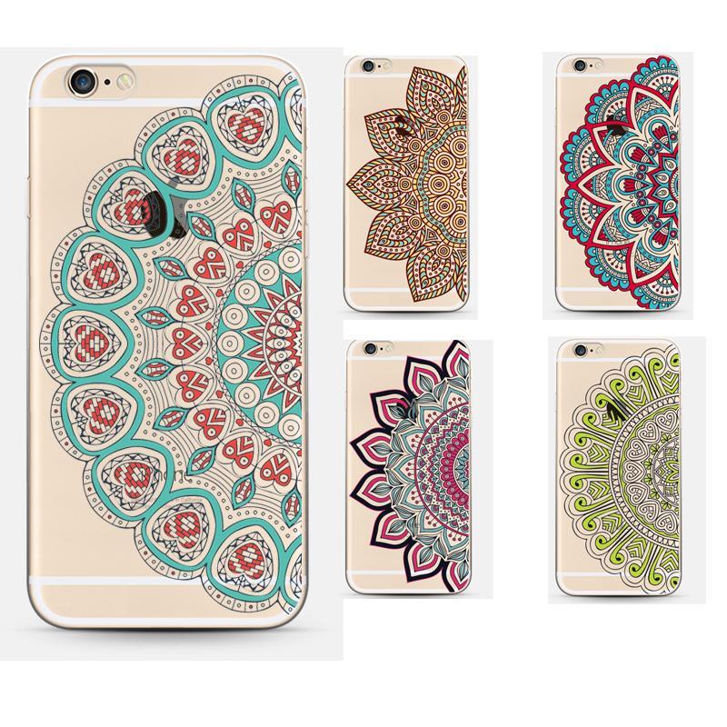 Vintage Transparent Flower Mandala Phone Case Cover For Apple Iphone 6plus 6s Plus Luxury Soft Silicon Capa(China (Mainland))