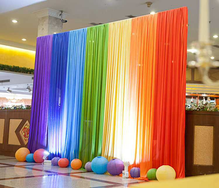 New ice silk rainbow wedding backdrop colourful wedding background the below picture is taken in the light junglespirit Gallery