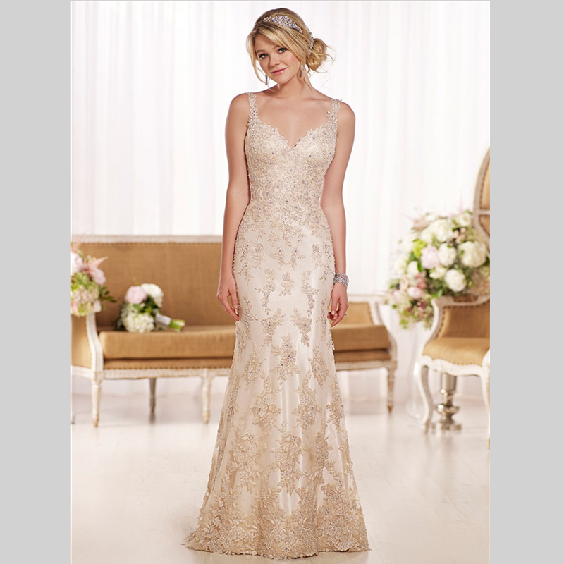2015 new collection sheath floor length vintage lace for Lace sheath wedding dress vintage