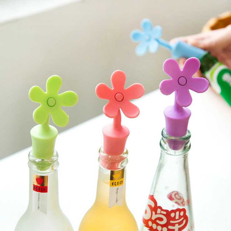 New Wine Bottle Stopper Silicone Flowers Bar Tools Preservation Wine Stoppers Kitchen Wine Champagne Stopper Beverage Closures(China (Mainland))