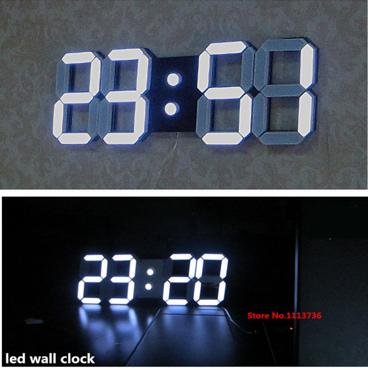 Some Country Ship DHL Large Modern Design Digital Led Wall Clock Big Creative Vintage Watch Home Decoration Decor 3d White Gift(China (Mainland))