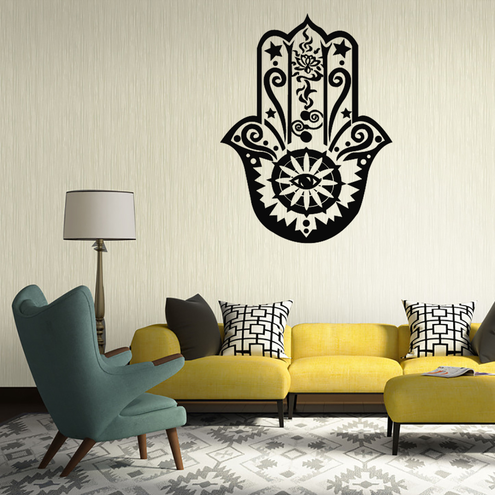 Funlife Art Design Hamsa Hand Wall Decal Vinyl Fatima Yoga Vibes Sticker Fish Eye Decals Indian Buddha Home Decor Lotus Mural