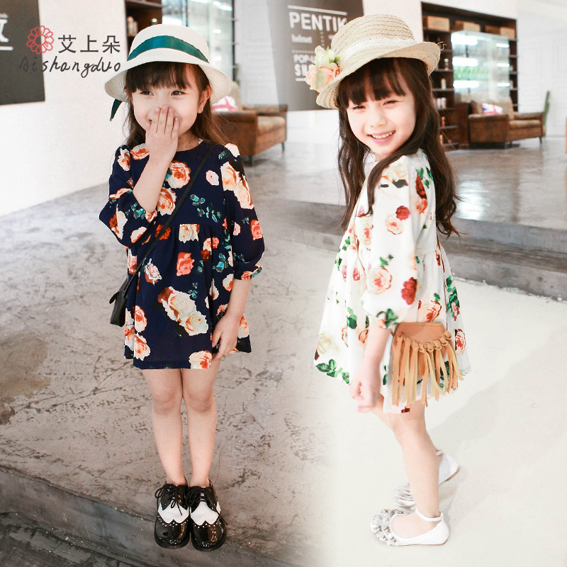 Girls Dress spring Summer 2016 Girl Flower Dress Baby long Sleeve Dresses Children fashion Dresses Kids Party Princess Clothes