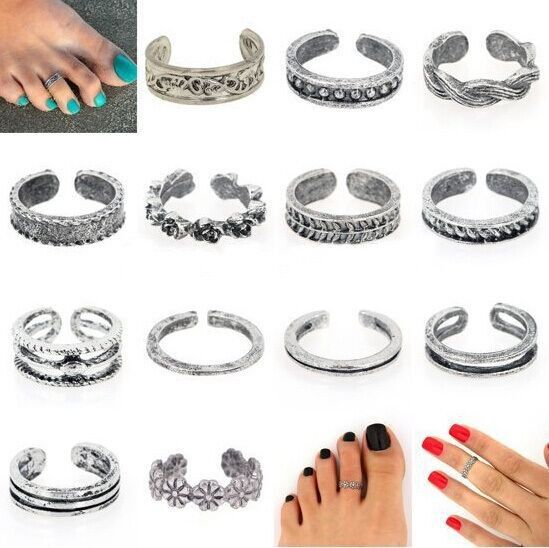 Wholesale 12Pcs Celebrity Fashion Simple Sliver Plated Retro Carved Flower Toe Ring Foot Jewelry(China (Mainland))