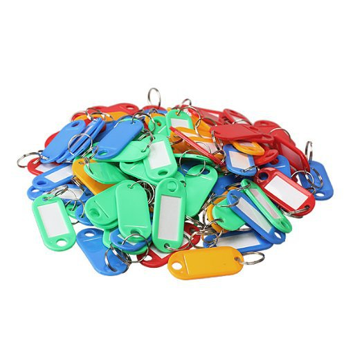 Pack of 500 Assorted Color Plastic Key Tags ID Label Keyring with Key Chain Tag Card Split Ring Free shipping(China (Mainland))