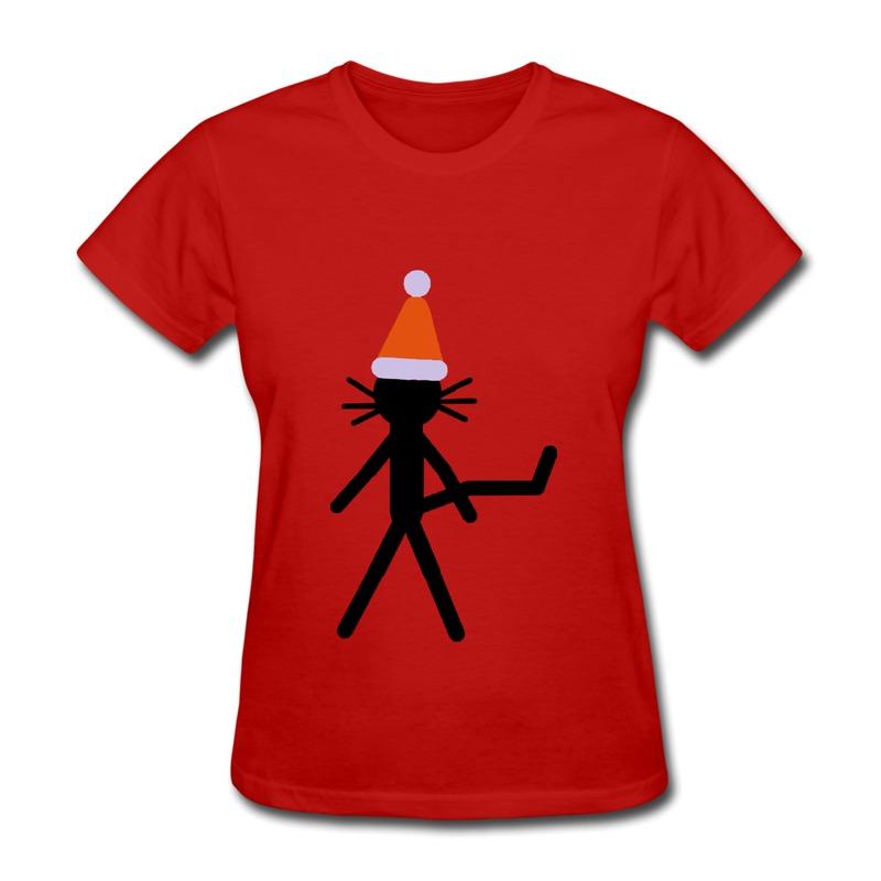 Custom Slim Fit Girls Shirt kittycat xmas Music Logo T for Ladys Free Shipping(China (Mainland))