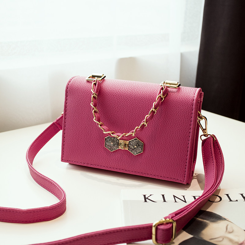 Chic Bowknot 2016 New Preppy Style Simple Shoulder Bag Litchi Stria Leather Designer Chain Bag Women Fashion Crossbody Bag