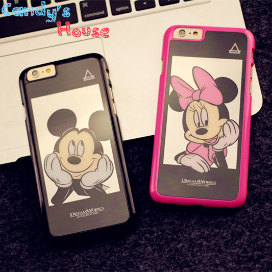 New Luxury Fashion Mickey Minnie mirror Case Cover For Apple iPhone 5 5S 6 4.7 Plus 5.5 inch Clear Fit couple For Phone6 Case AA(China (Mainland))