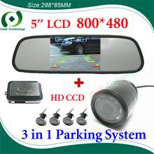 3 in 1 car parking system, CCD HD car backup Camera + Dual Core car Parking sensor + 5 inch HD 800*480 Car Mirror Monitor(China (Mainland))