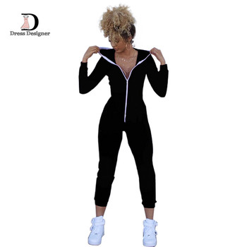 Casual Women One Piece Jumpsuits Long Sleeve Bodycon Front Zipper Hooded Long Pants Sexy One Piece Outfits Black/Red Rompers