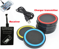 Universal QI Wireless Charger Receiver Adapter + Wireless Charger Transmitter Phone Charger Pad For Galaxy Alpha G850F G8508