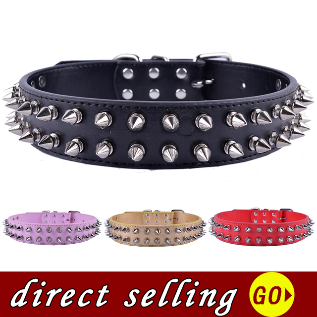 Personalized Two Rows Spikes Studded Dog-Collar Pu Leather Collar For Large Dogs Pitbulls Pet Dog Health Supplies