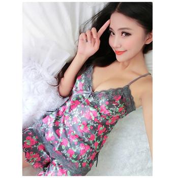 Sexy Pajamas Women Silk Lace Floral Braded Robe Sleepwear Lingerie Nightdress Babydoll Pajamas Set V-Neck + Pyjama Trousers
