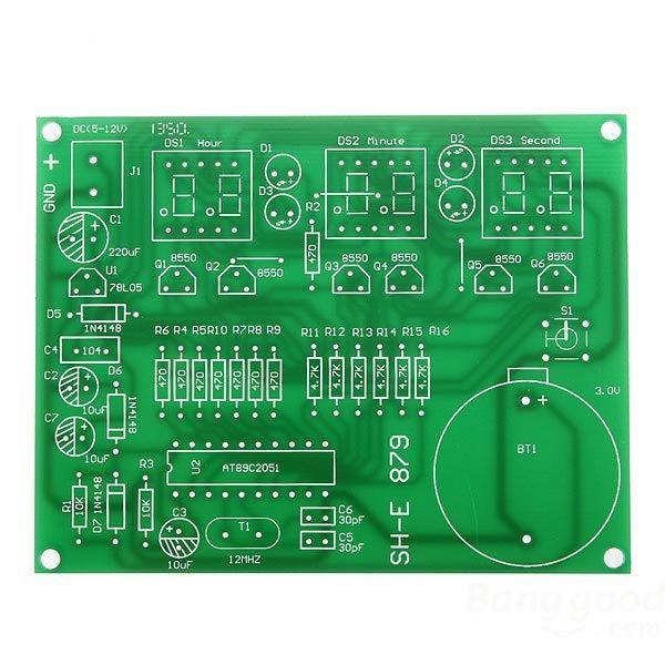 Laciestore 6 Digital LED Electronic Clock DIY Kit Parts Components 9V-12V AT89C2051(China (Mainland))