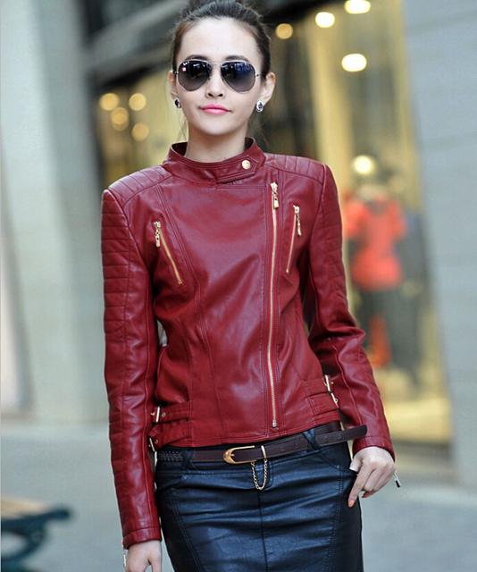 2015 autumn winter Женщины jackets leather coats ladies Красный stand Воротник Модный ...