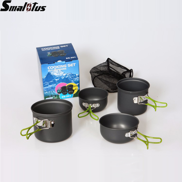 2-3 People Portable Aluminum Alloy Pot Outdoor Cooking Anodised Non-stick Pot Camping Cookware Set Picnic Bowl Hiking Utensils(China (Mainland))