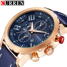 CURREN Quartz Men Wrist Watch Man Clock Casual Sports Gold Watch Leather Blue Army Military Men Watches 2016 Relojes Hombre(China (Mainland))