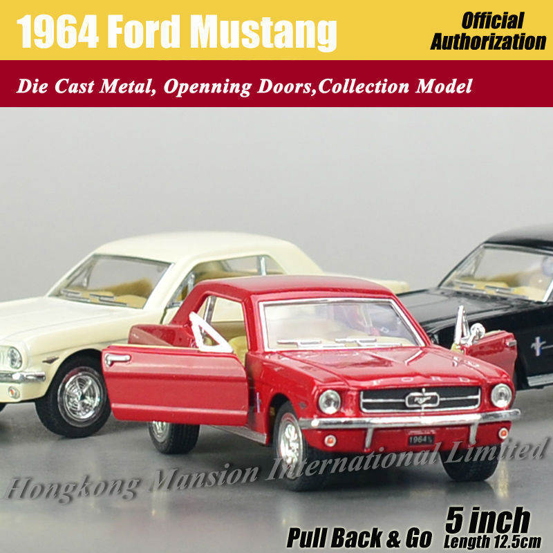 1:36 Scale Diecast Alloy Metal Classic Car Model For 1964 Ford Mustang Collection Model Pull Back Toys Car - Red / White / Black(China (Mainland))