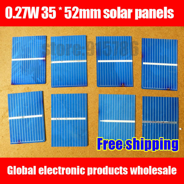 Free shipping Solar cells / 0.27W 35 * 52mm solar panels / solar module / solar cells for solar DIY