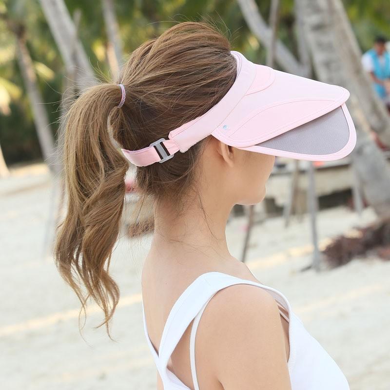 Womens Chic Summer Retractable Visor Sun Hat Empty Top Wide Large ... 407b6fd0ccfa