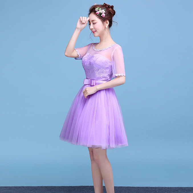 modest women purple sexy formal gown 2016 lace back applique tulle party dress knee length prom gowns S3777 - I And You Story store