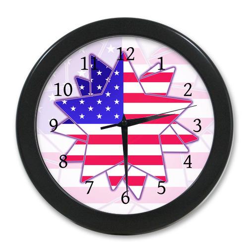 New Style Wall Decor Clock Custom America Flag Stars
