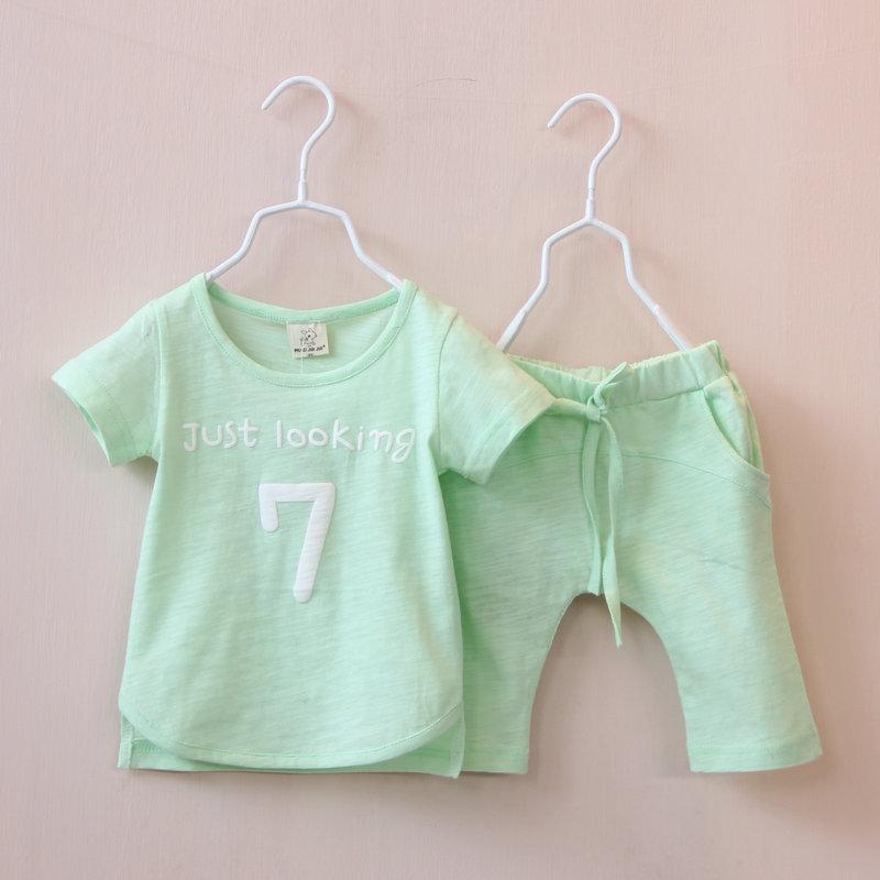 Summer style boy girl baby 7 words Short sleeve T-shirt + Middle pants suit two-piece Alphanumeric suit children set wholesale<br><br>Aliexpress