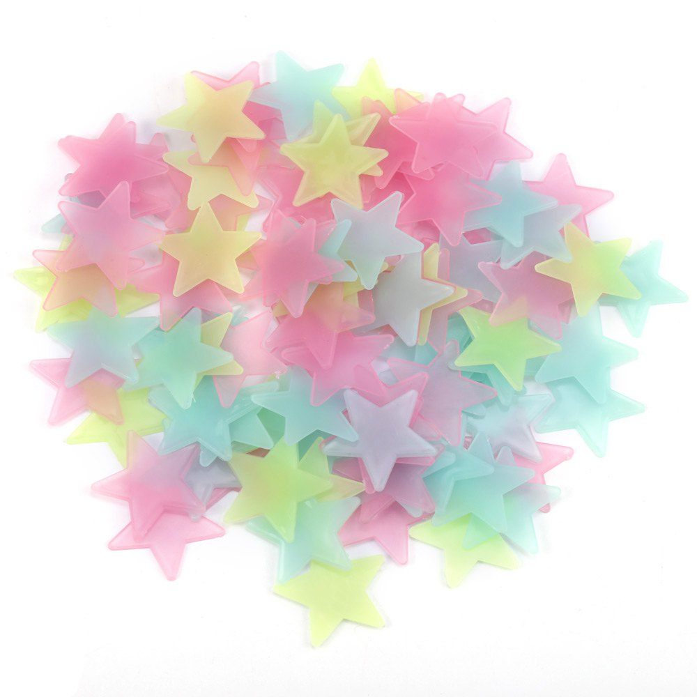 100Pcs DIY Colorful Wall Stickers Luminous Star Sticker Fluorescent Glow In The Dark Baby Kids Bedroom Decal Stars Home Decor(China (Mainland))