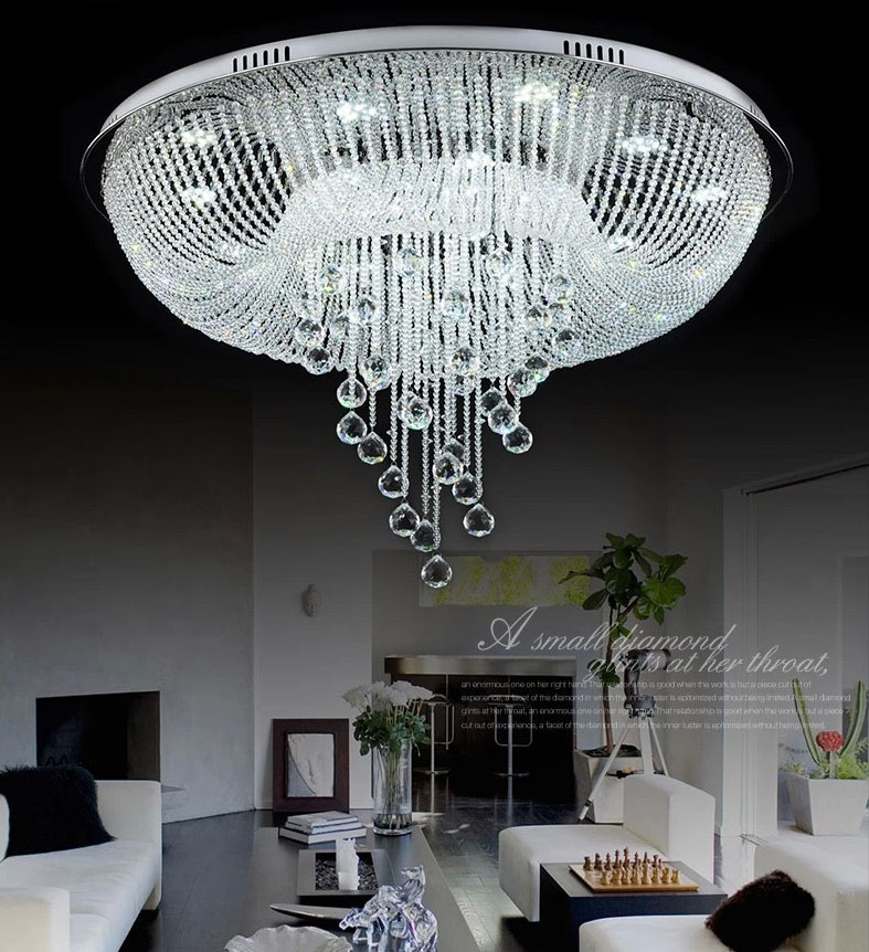 Top class hotel lustre crystal led chandelier foyer for Living room chandelier