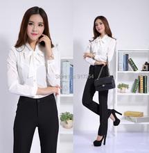 New Plus Size 2015 Femininos Professional Business Office Work Wear Pant Suits With Blouses Pantsuits Beautician Uniforms Set
