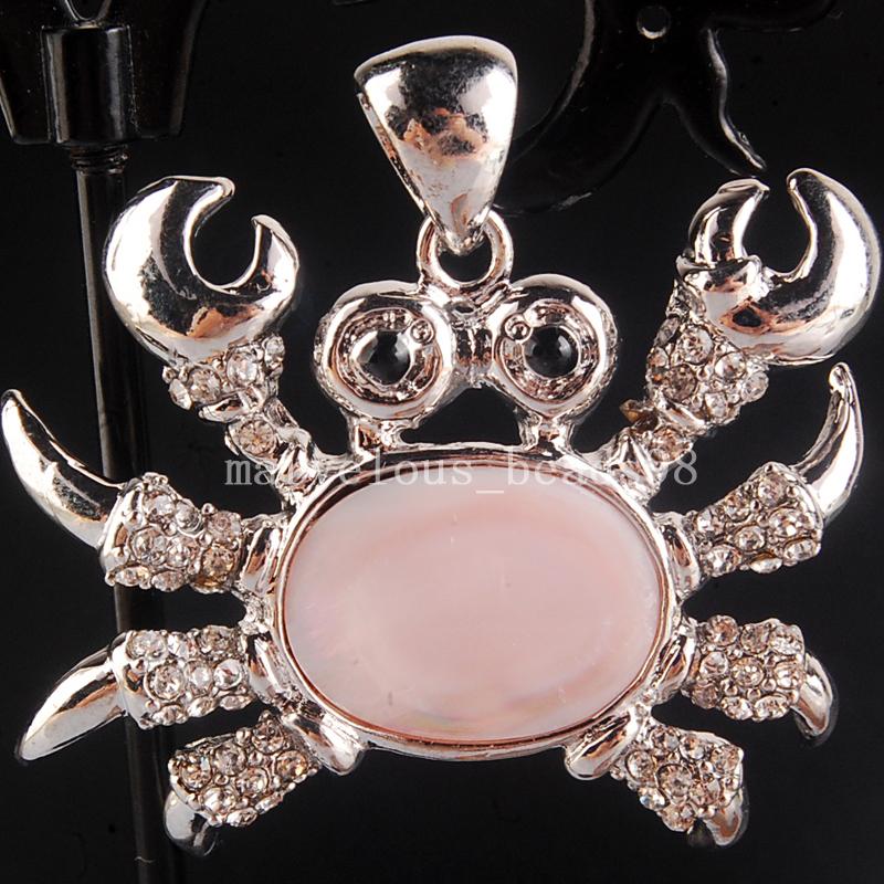 Free Shipping Beautiful jewelry 38x43mm Pink Mother of pearl Shell Crab Art Women men Pendand Bead 1Pcs PC4224(China (Mainland))