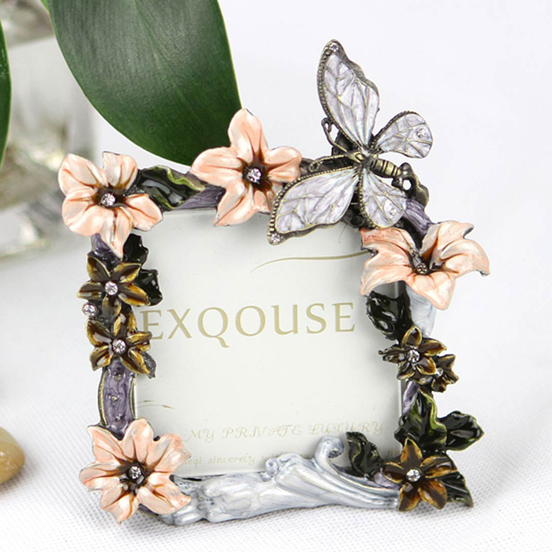 Home Wedding Decoration Creative Butterfly Flowers 3 inches Alloy Picture Photo Frame Gift Free Shipping(China (Mainland))