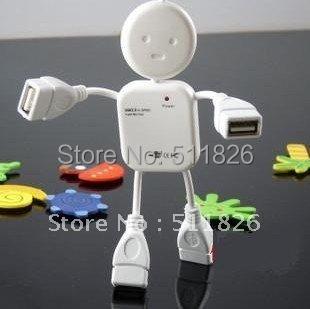 Free shipping HI-SPEED USB 2.0 4 port USB HUB Doll shape usb hub 8064