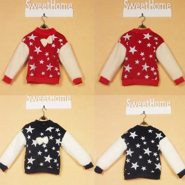 Lovely Stars Print Cozy Blouse Baby Kids Crewneck Long Sleeve Tops Girls Fleece clothes