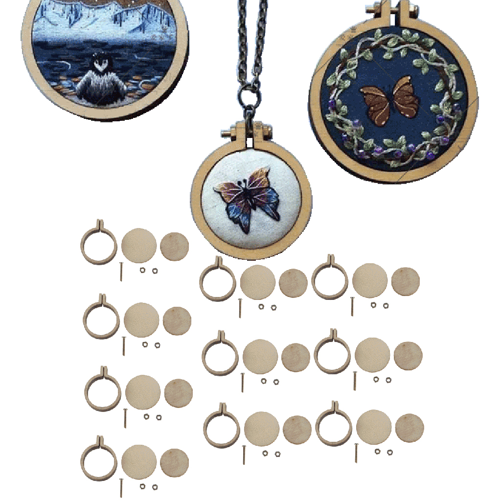 10 Set Mini Round Wooden Embroidery Hoop Frame Inner Diamater 2cm - Cross Stitch, Arts, DIY Crafts Tools