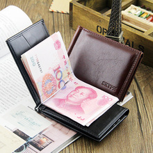 Fashion New Quality Patent Leather Men Money Clips With 7 Cards Slots Black Brown 2 Folds Open Clamp Clip For Cash Free Shipping(China (Mainland))