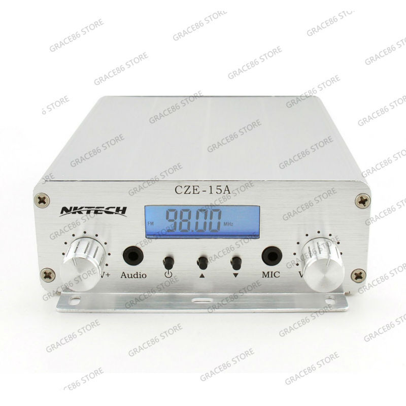 NKTECH CZE-15A Backlight LCD 3W/15W 87.5MHz~108MHz FM Stereo PLL Radio Broadcast Transmitter(China (Mainland))
