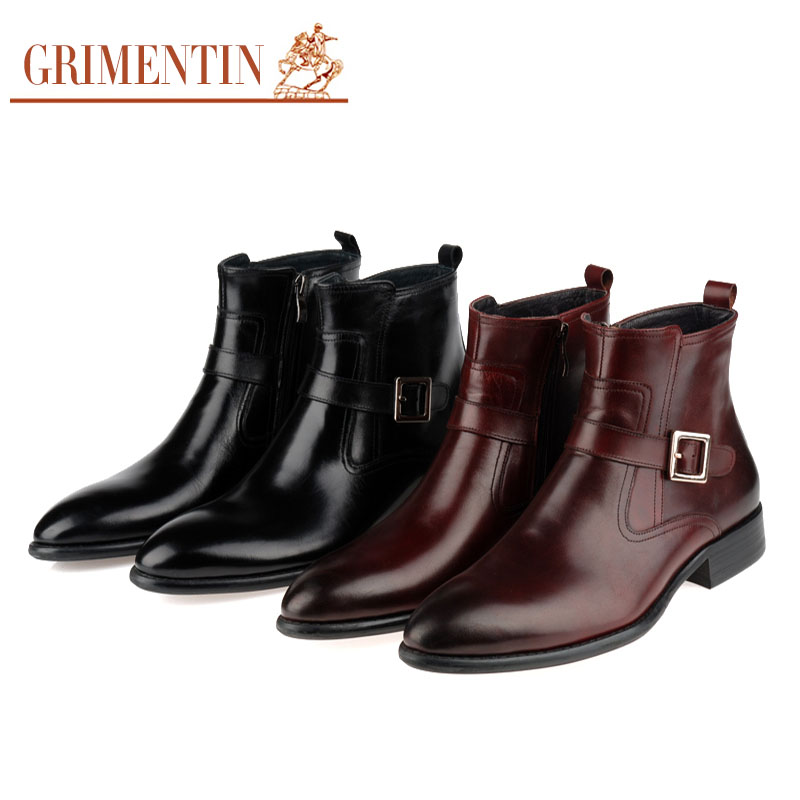 2015 Italian luxury designer fashion formal mens ankle boots shoes genuine leather with buckle black brown for men size6.5-10.5(China (Mainland))